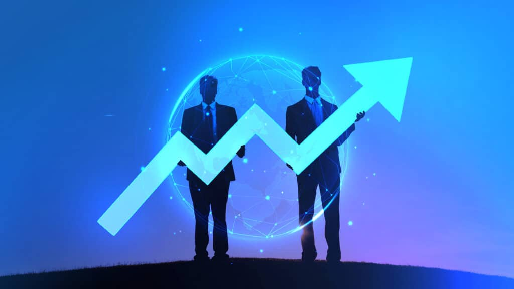 Abstract depiction of two businessmen holding an increase graph
